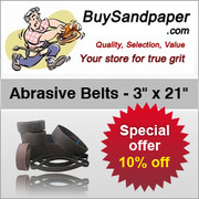 10% Off on 3 x 21 inch Abrasive Belts Promo code is 10off3x21